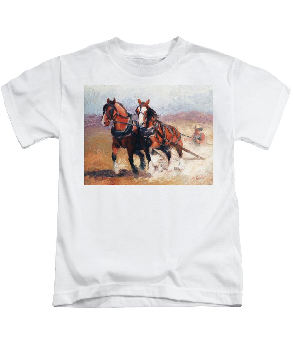 Horse Kids T-Shirt featuring the painting Pulling Contest Clydesdales Draft Horse Paintings by Kim Corpany