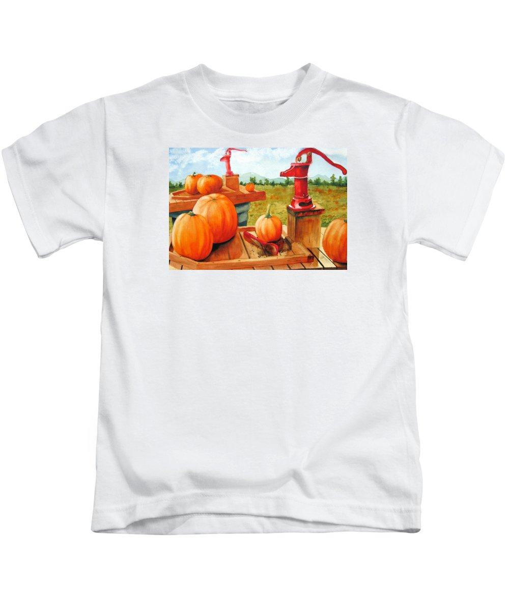 Autumn Kids T-Shirt featuring the painting Pumps And Pumpkins by Karen Stark