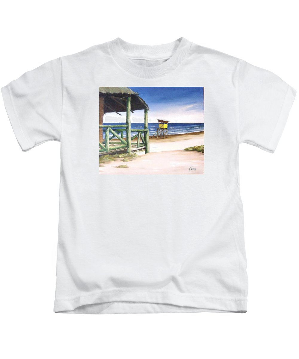 Seascape Beach Landscape Water Ocean Kids T-Shirt featuring the painting Punta Del Diablo S Morning by Natalia Tejera