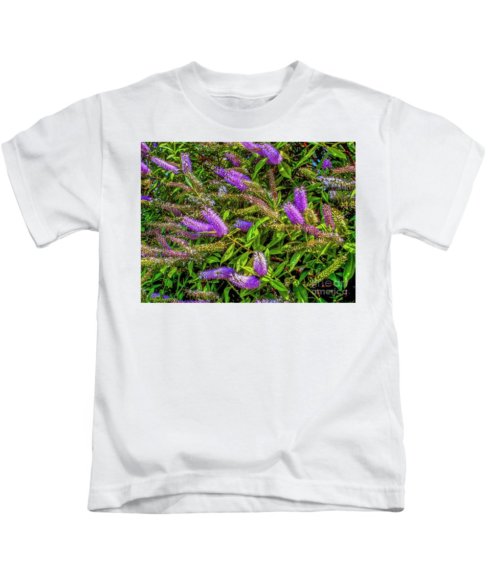 Flowers Kids T-Shirt featuring the photograph Purple Flowers Of Chiloe by Roberta Bragan