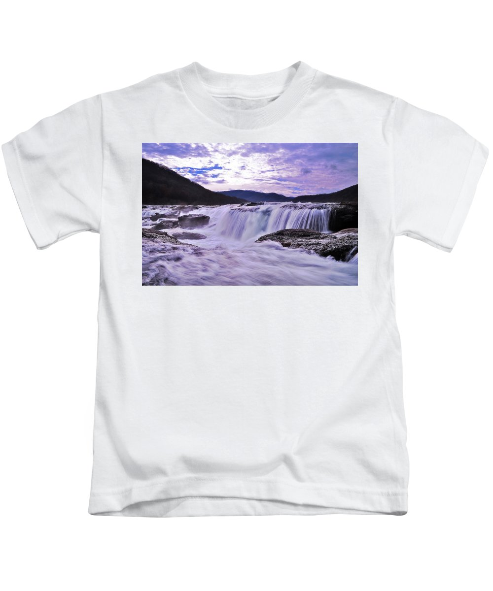 Kids T-Shirt featuring the photograph Purple Haze Waterfall by Lj Lambert