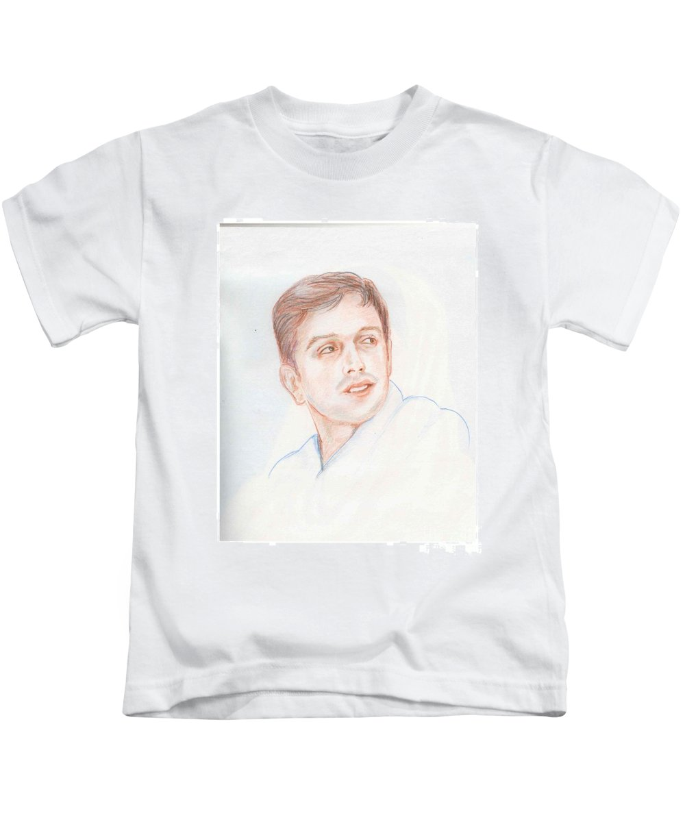Cricketer Kids T-Shirt featuring the drawing Rahul Dravid Indian Cricketer by Asha Sudhaker Shenoy