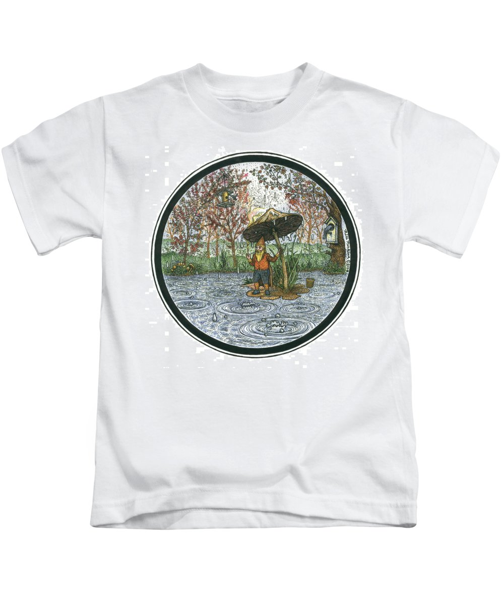 Rain Kids T-Shirt featuring the drawing Rain Gnome Rain Circle by Bill Perkins