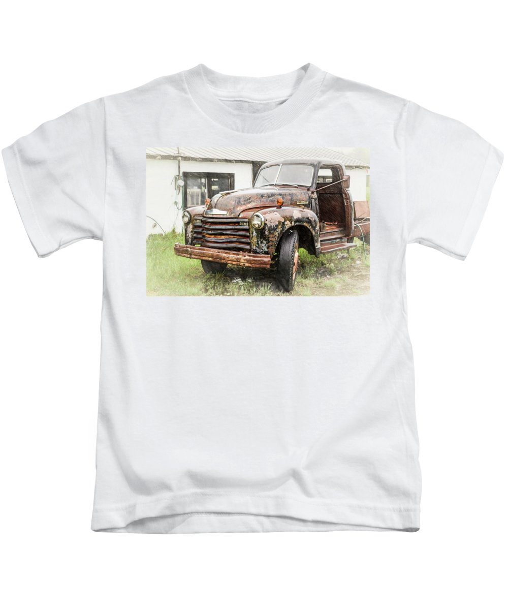 Transportation Kids T-Shirt featuring the photograph Rain On Rust 1 by Jim Love