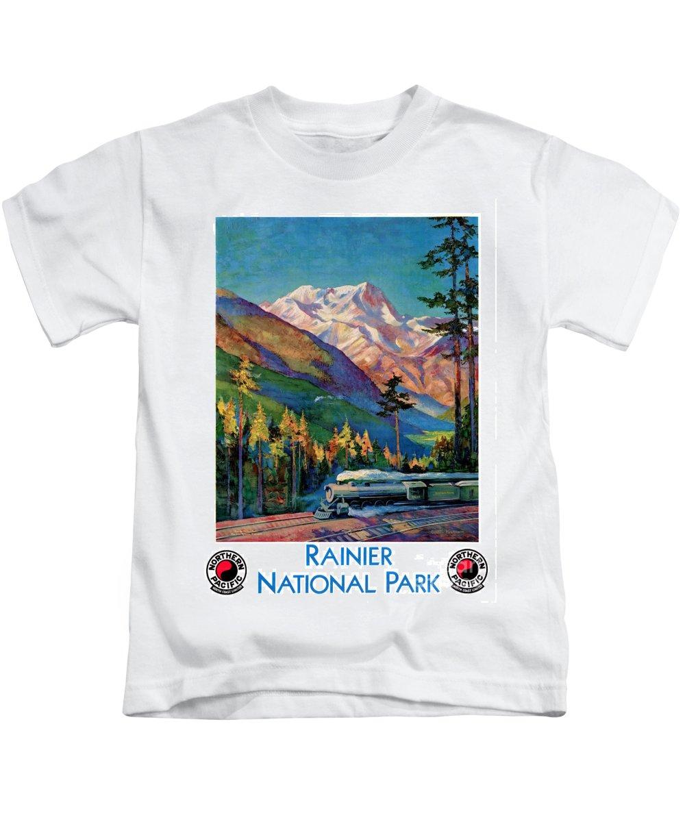 Travel Kids T-Shirt featuring the painting Rainier National Park Vintage Poster Restored by Carsten Reisinger