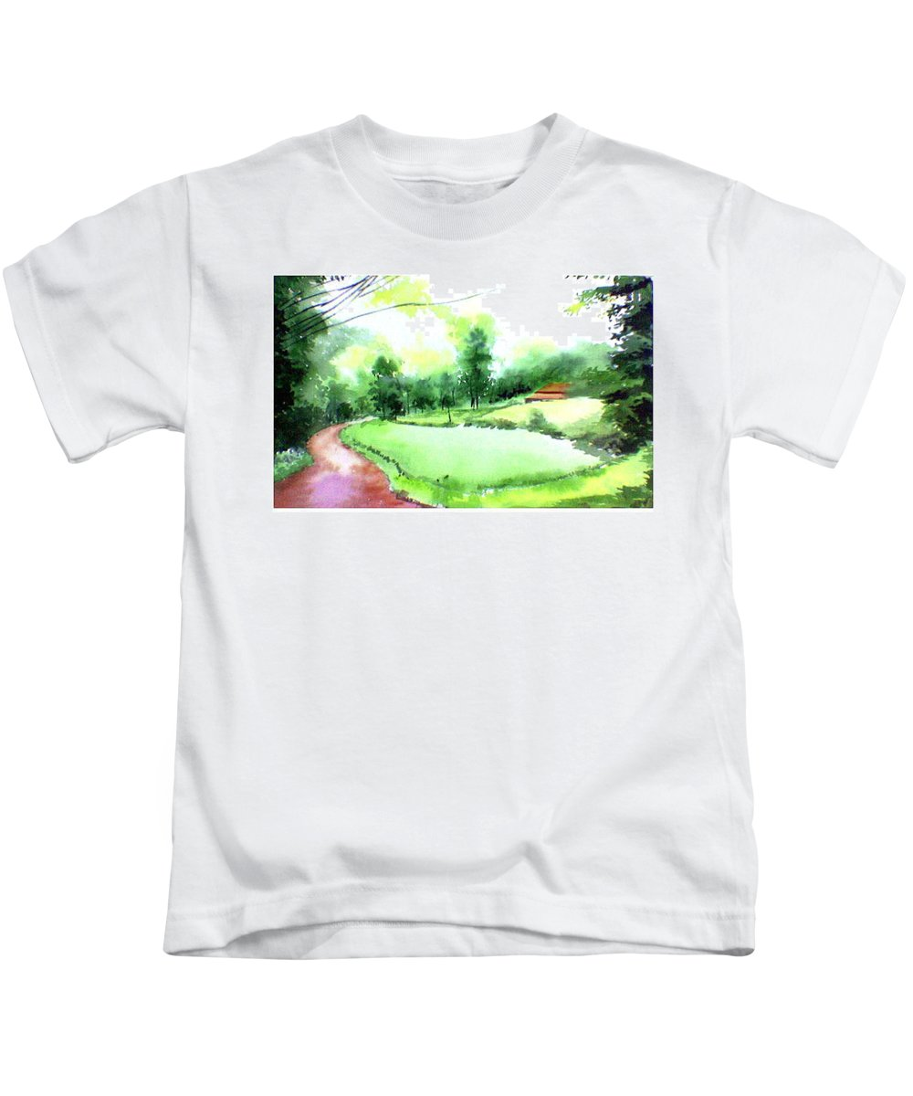 Landscape Kids T-Shirt featuring the painting Rains In West by Anil Nene