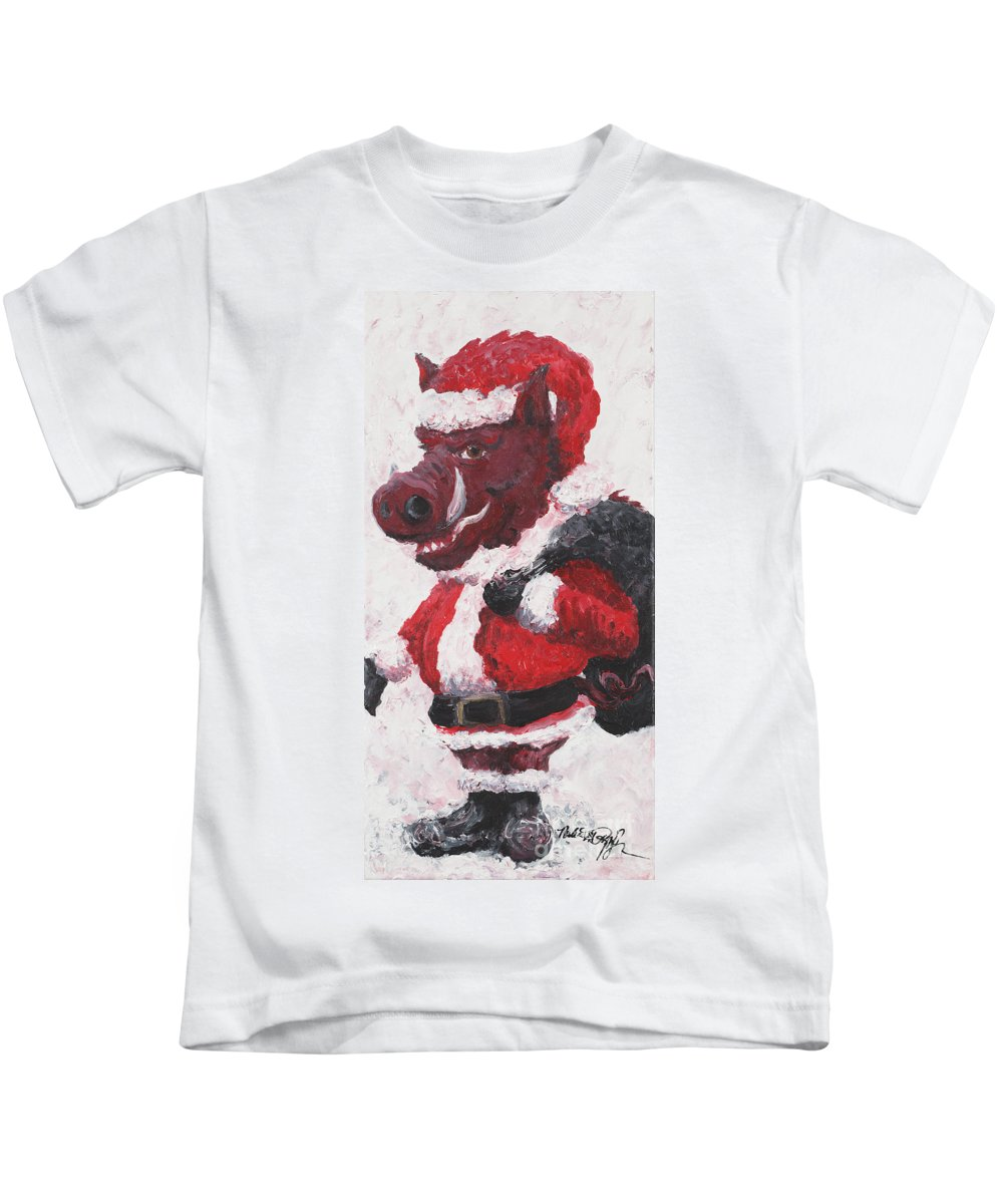 Santa Kids T-Shirt featuring the painting Razorback Santa by Nadine Rippelmeyer