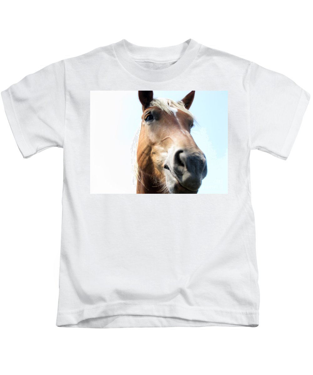 Horse Kids T-Shirt featuring the photograph Really by Amanda Barcon