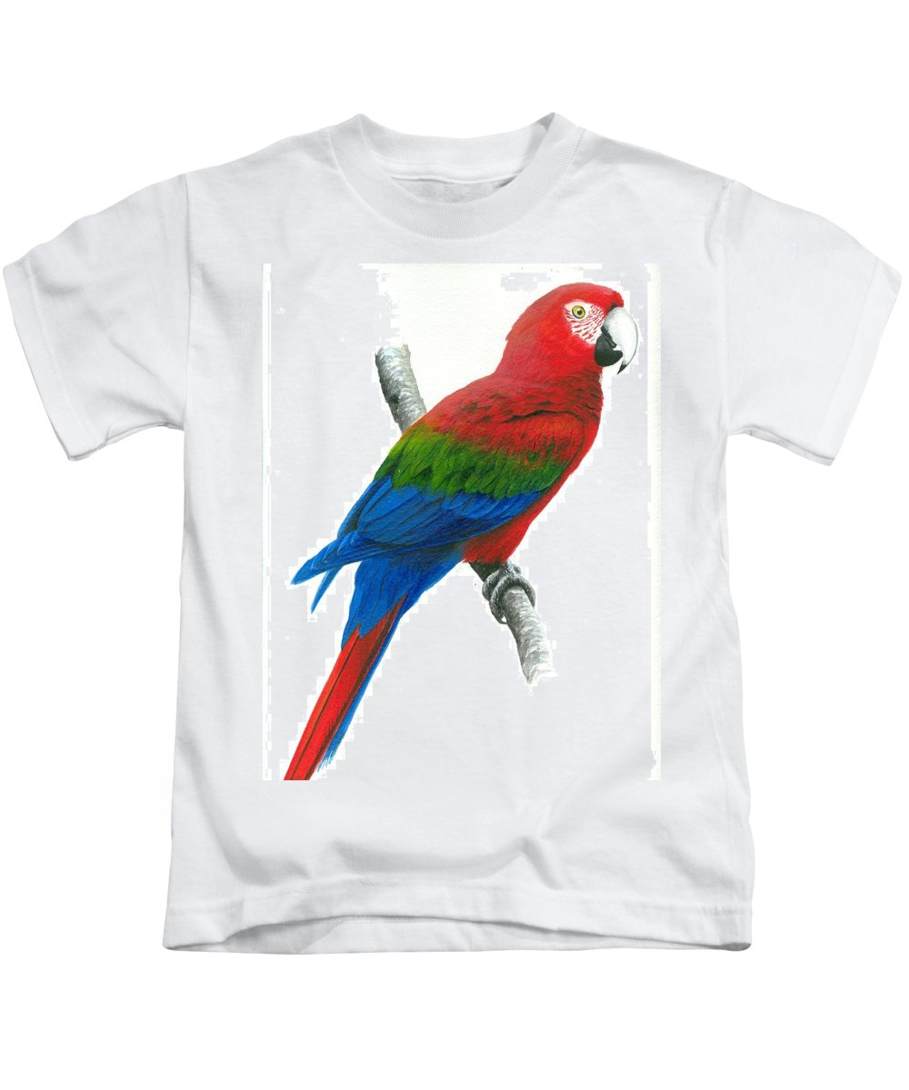 Chris Cox Kids T-Shirt featuring the painting Red And Green Macaw by Christopher Cox