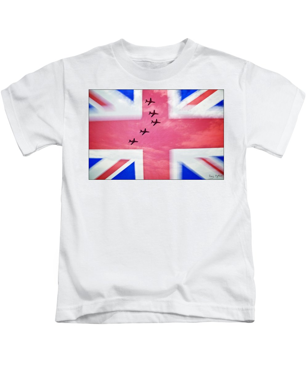 Red Arrows Kids T-Shirt featuring the photograph Red Arrows Flag by Ray Hydes