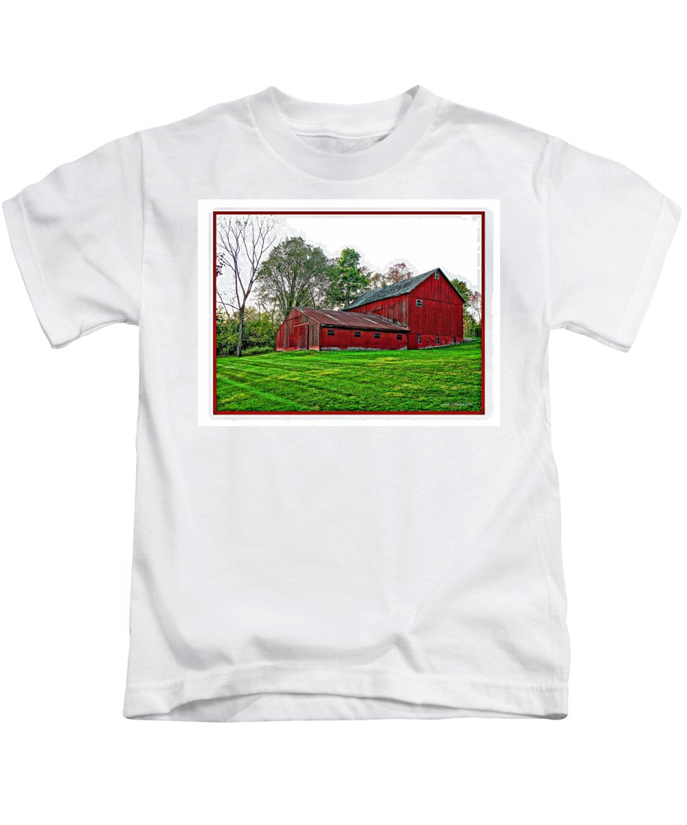 Autumn Kids T-Shirt featuring the photograph Red Barn In Ohio by Joan Minchak