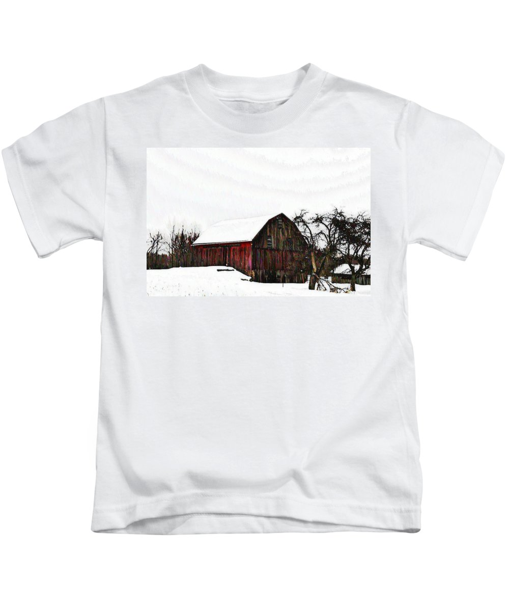 Red Barn Kids T-Shirt featuring the photograph Red Barn In Snow by Bill Cannon
