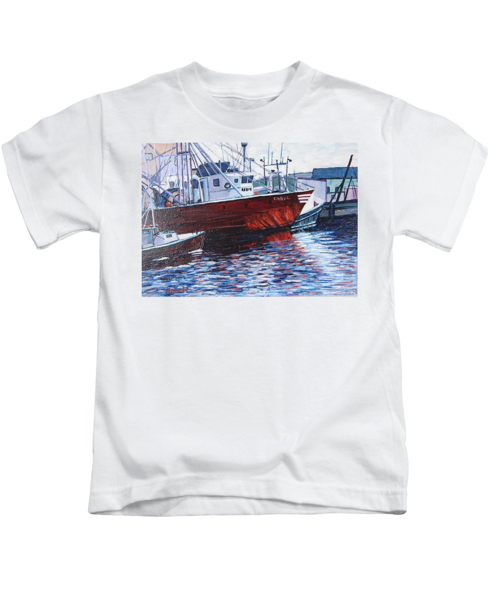 Boats Kids T-Shirt featuring the painting Red Boats by Richard Nowak