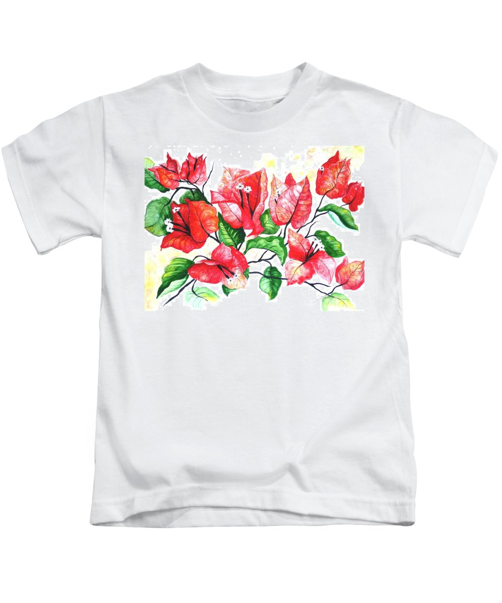 Red Flower Kids T-Shirt featuring the painting Red Bouganvillia by Karin Dawn Kelshall- Best
