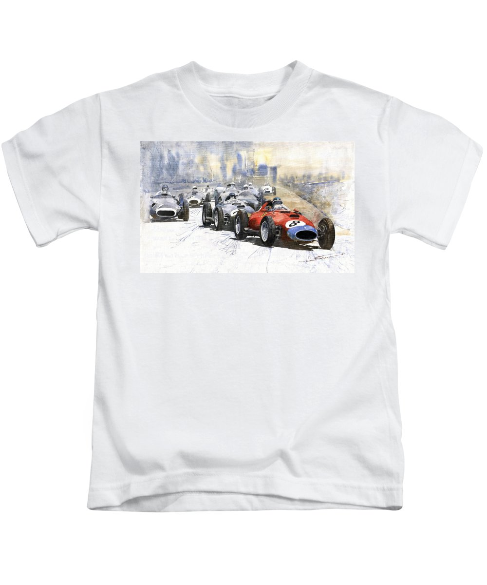Watercolour Kids T-Shirt featuring the painting 1957 Red Car Ferrari 801 German Gp 1957 by Yuriy Shevchuk