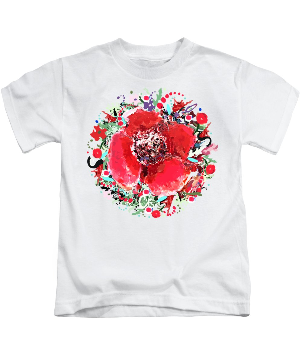 Flower Kids T-Shirt featuring the painting Red Flower, by Natalia Kuruch