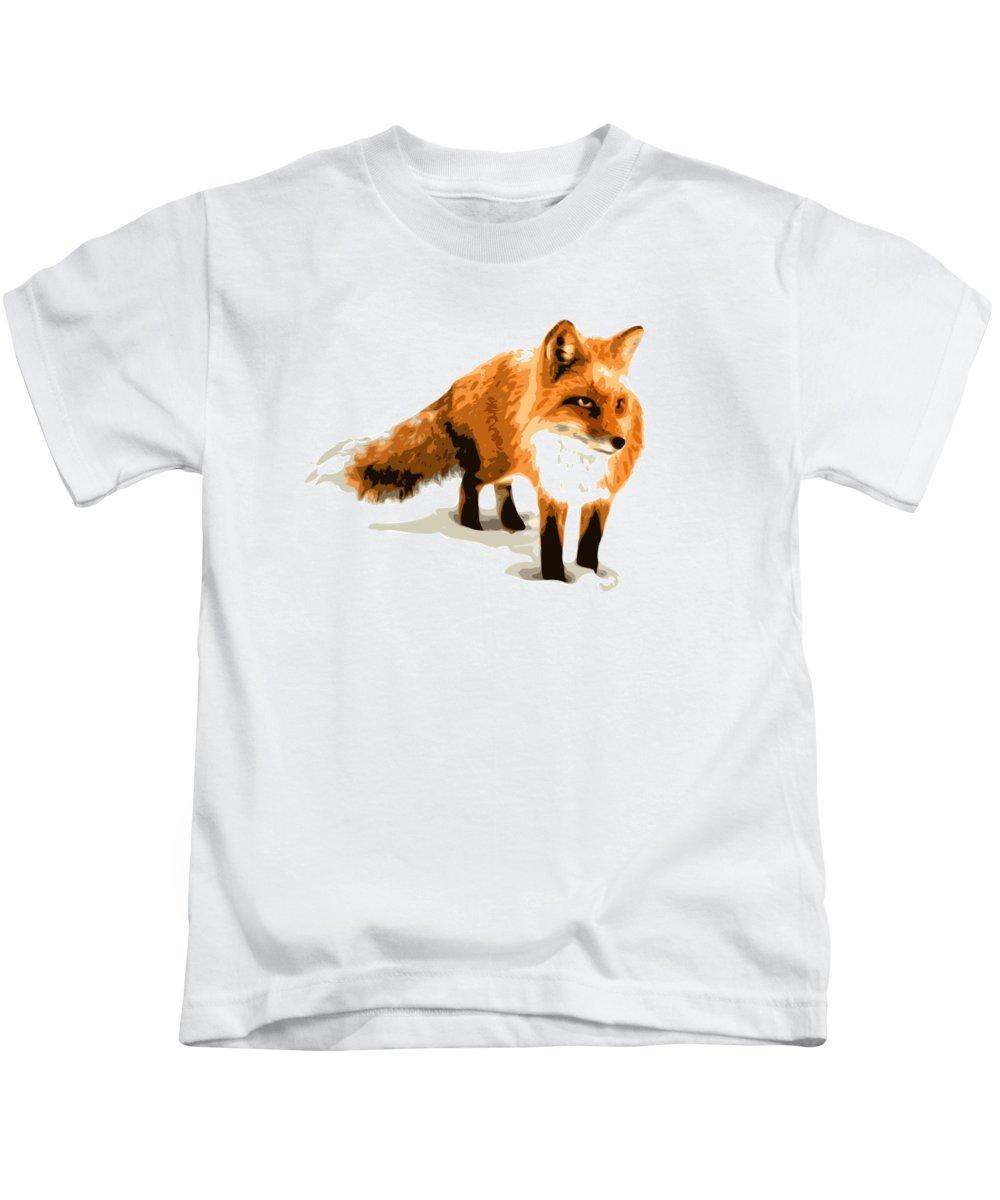 Fox Kids T-Shirt featuring the digital art Red Fox In Winter by DB Artist