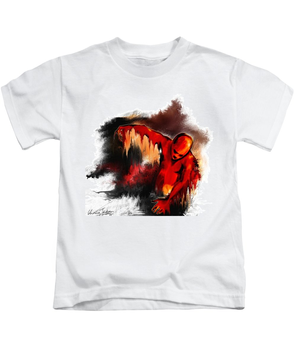 Red Man Passion Sureall Fire Kids T-Shirt featuring the digital art Red Man by Veronica Jackson