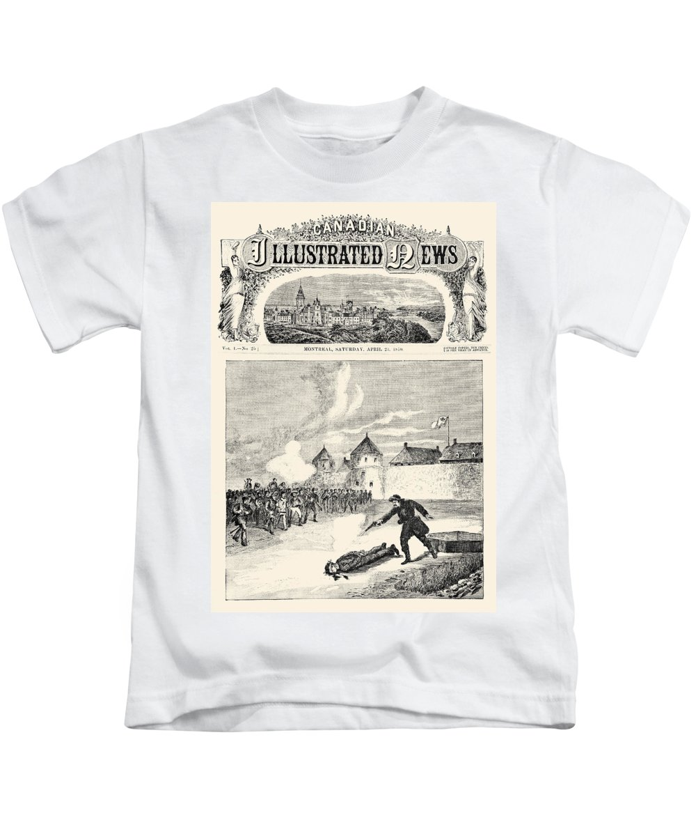 1870 Kids T-Shirt featuring the photograph Red River Rebellion, 1870 by Granger