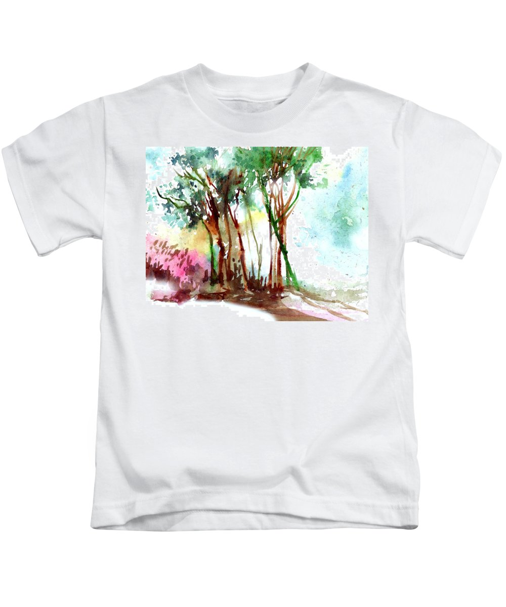 Landscape Kids T-Shirt featuring the painting Red Trees by Anil Nene