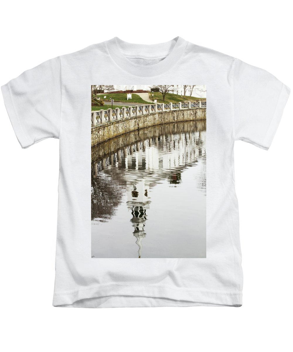 Reflection Kids T-Shirt featuring the photograph Reflections Of Church by Karol Livote