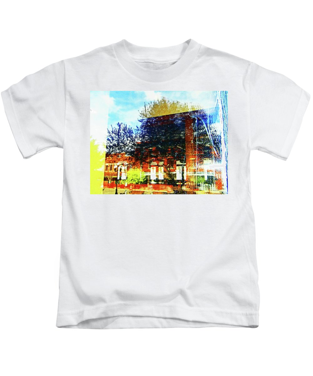 Abstract Kids T-Shirt featuring the photograph Reflections On The Old Depot by Lenore Senior