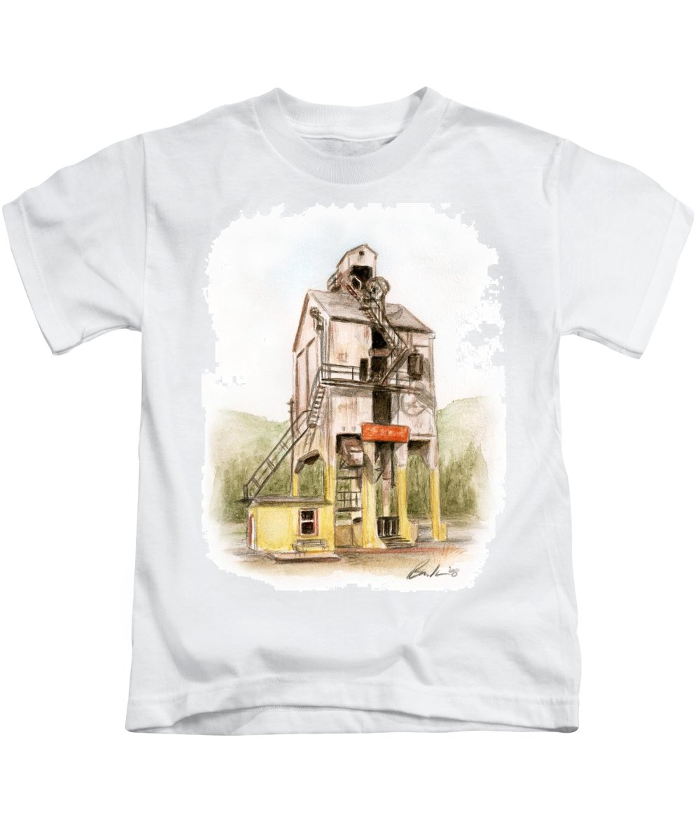 Renovo Travel Art Brucelennon Art Kids T-Shirt featuring the painting Renovo Pa by Bruce Lennon