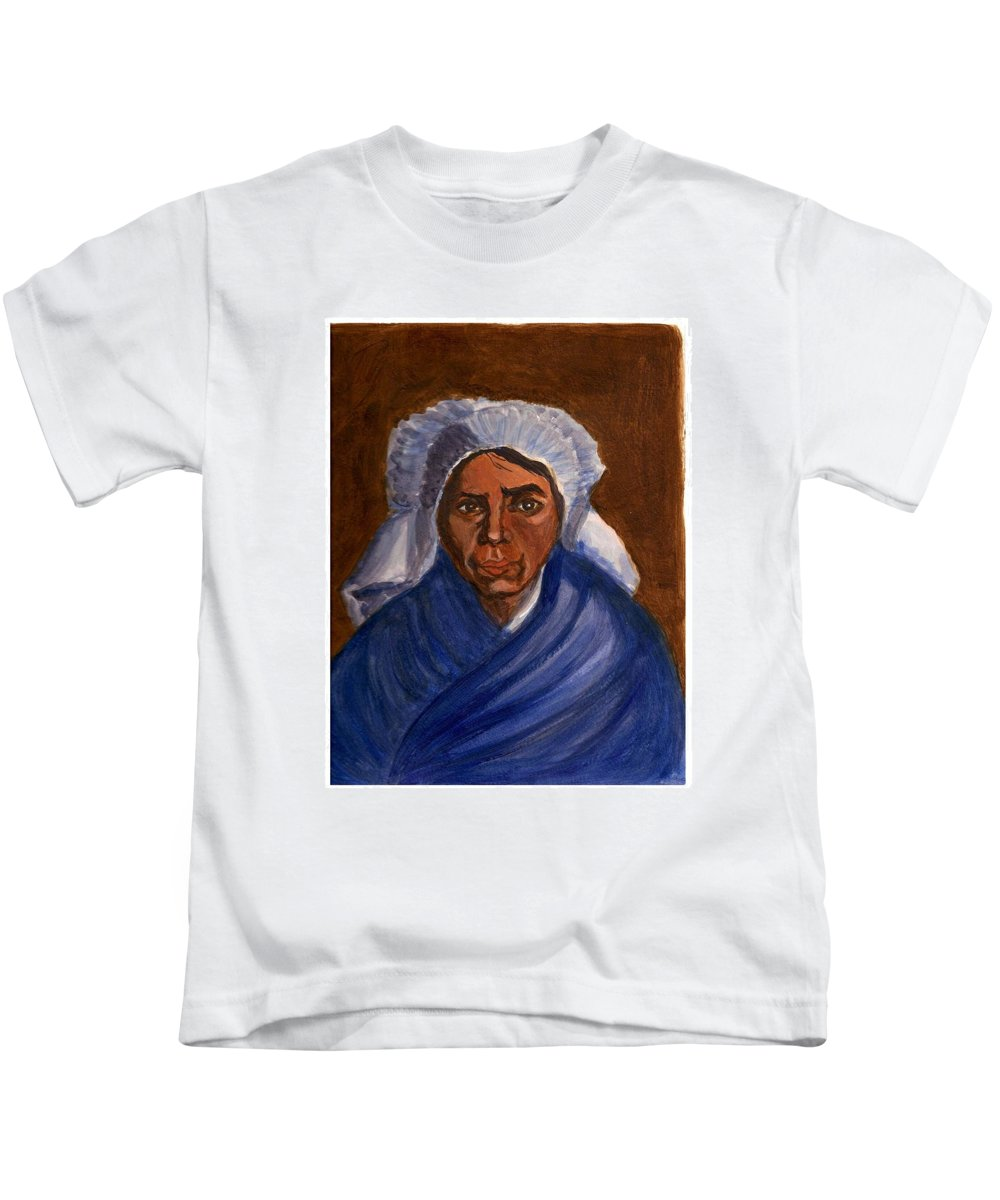 Peasant Woman By Van Gogh Reproduced Kids T-Shirt featuring the painting Reproduction Of Van Gogh by Asha Sudhaker Shenoy