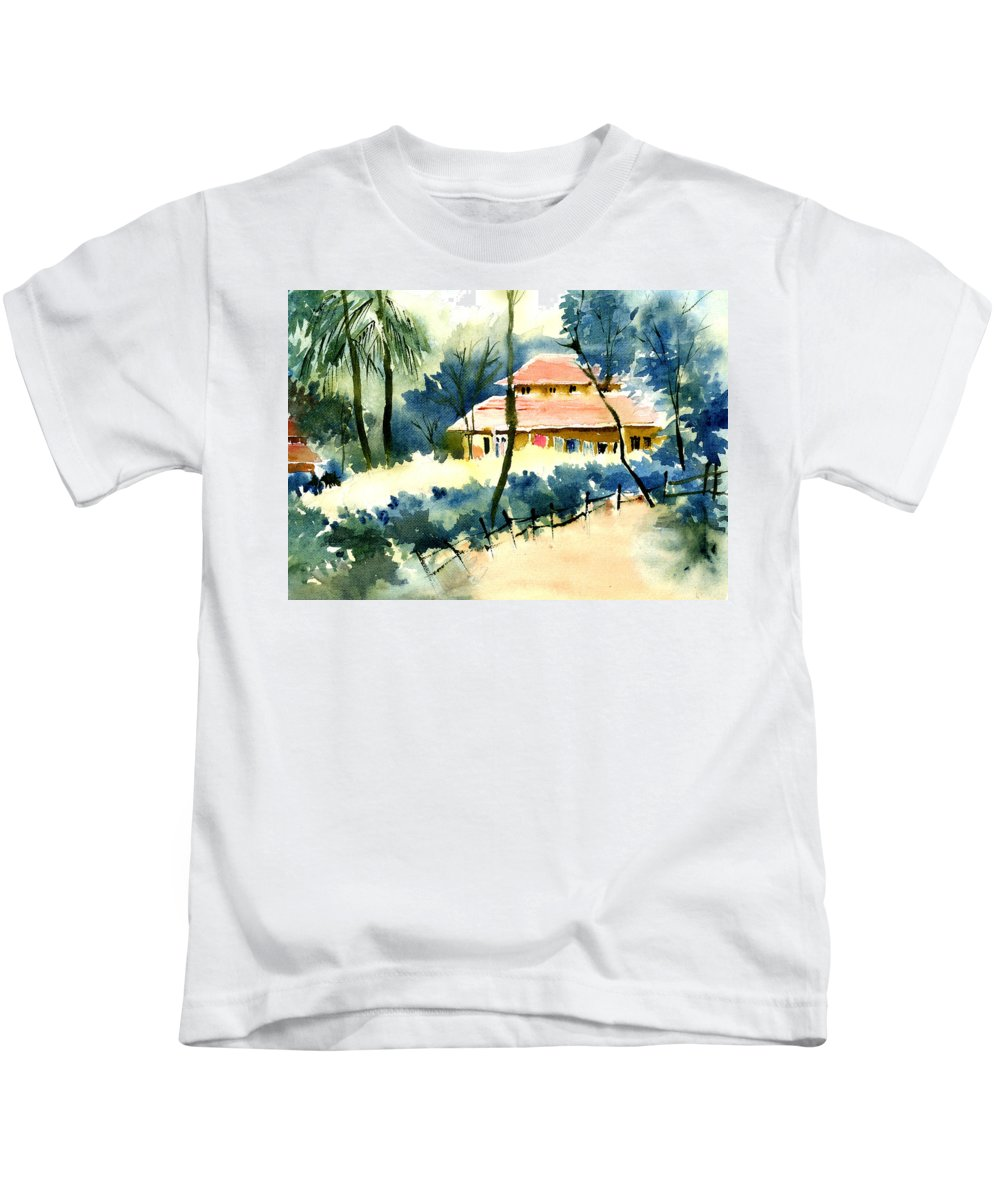 Landscape Kids T-Shirt featuring the painting Rest House by Anil Nene