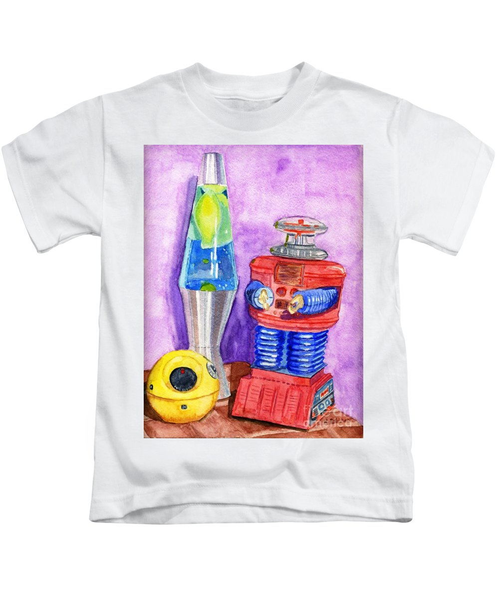 Watercolor Kids T-Shirt featuring the painting Retro Toys by Lynne Reichhart