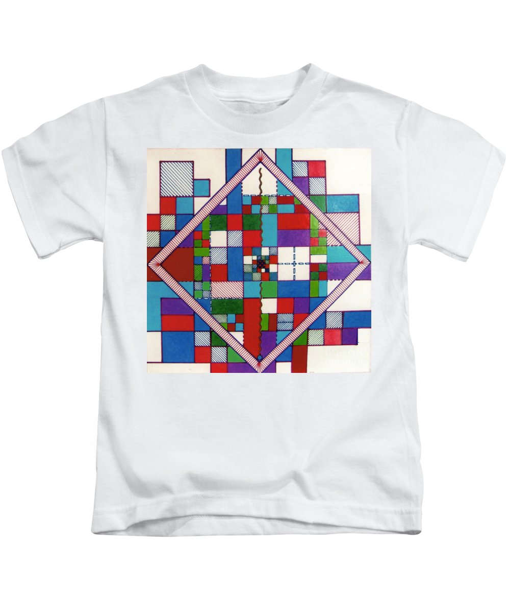 Angled Kids T-Shirt featuring the drawing Rfb0574 by Robert F Battles