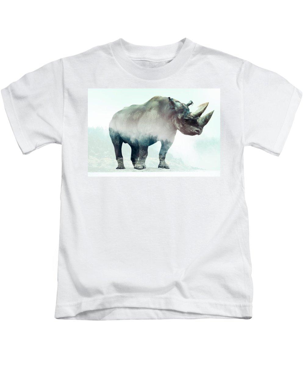 Rhino Double Exposure Kids T-Shirt featuring the digital art Rhino by Karlo Agfa