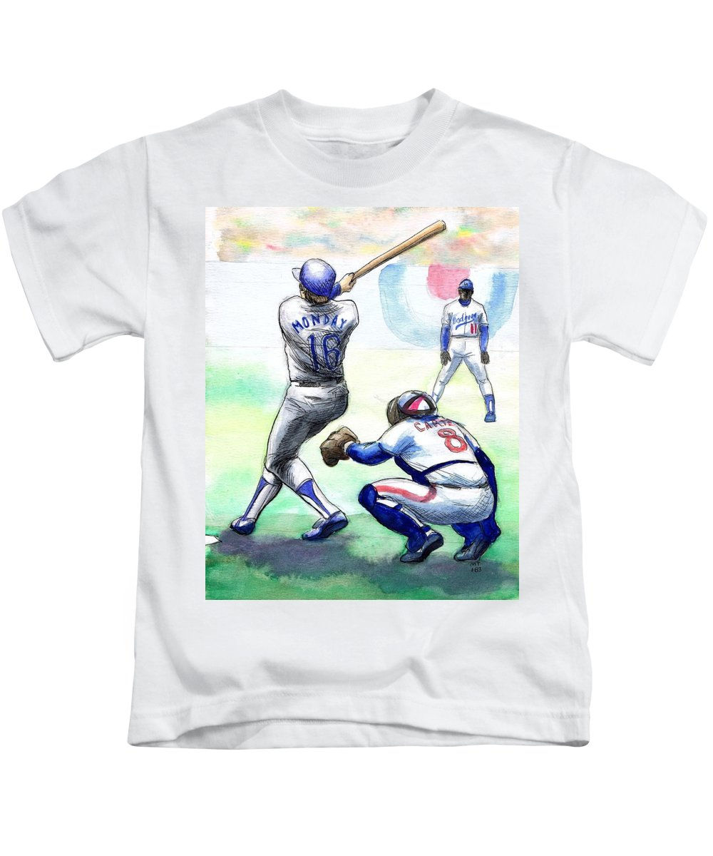 Nostalgia Kids T-Shirt featuring the drawing Rick Monday by Mel Thompson
