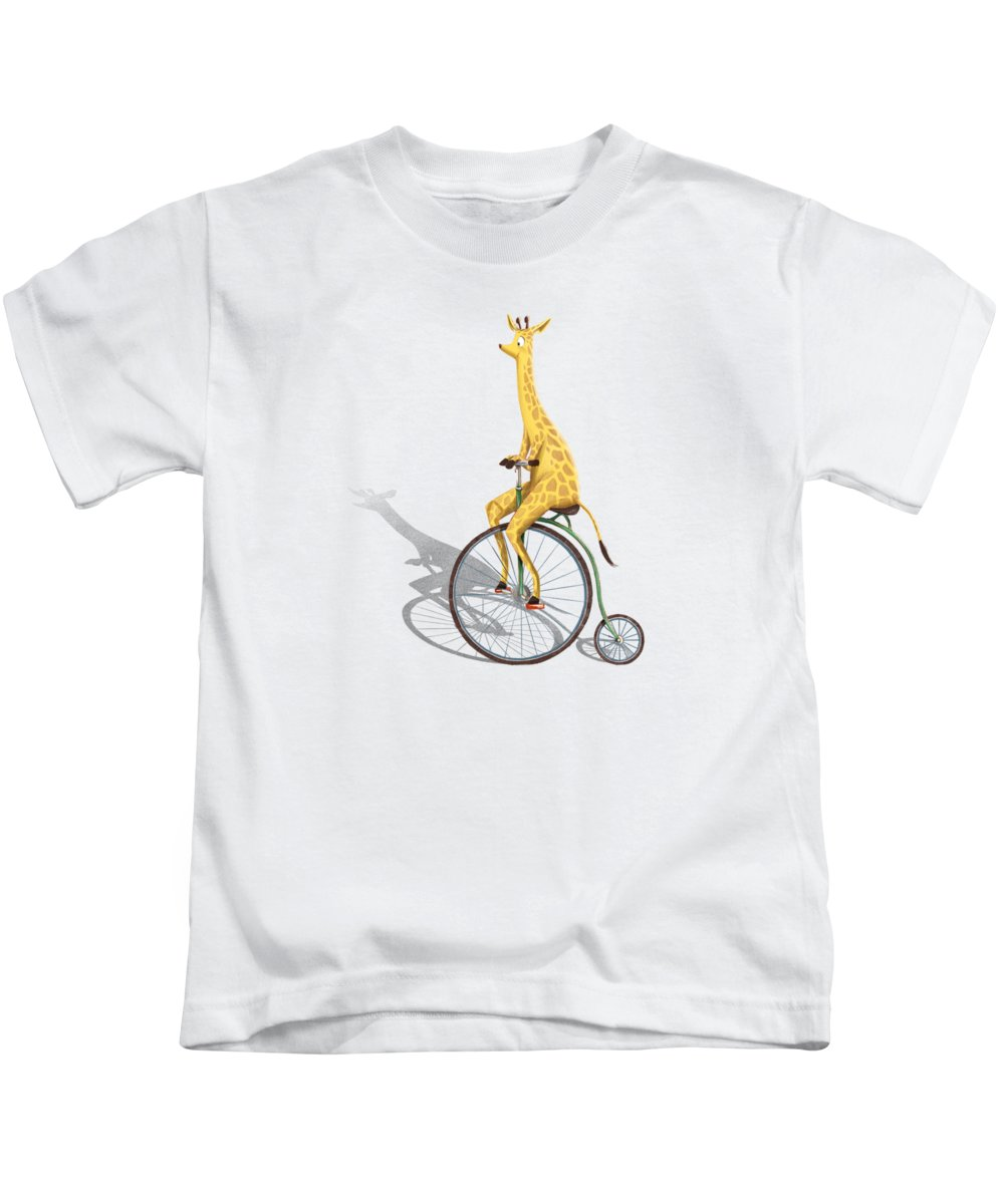 Kidlit Kids T-Shirt featuring the digital art Ride My Bike by Michael Ciccotello