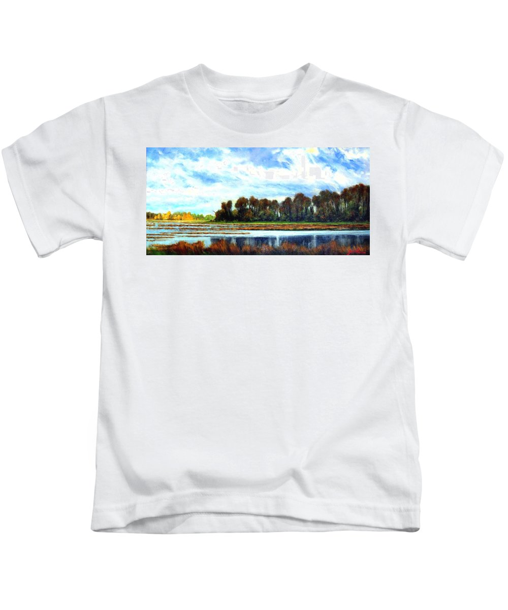 Landscapes Kids T-Shirt featuring the painting Ridgefield Refuge Early Fall by Jim Gola