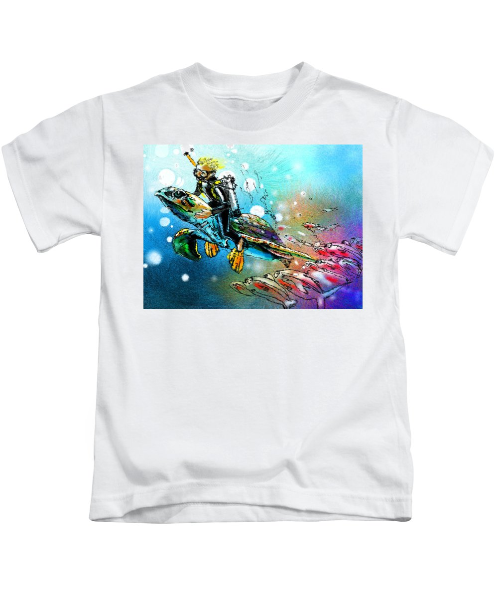 Turtle Painting Kids T-Shirt featuring the painting Riding A Turtle by Miki De Goodaboom