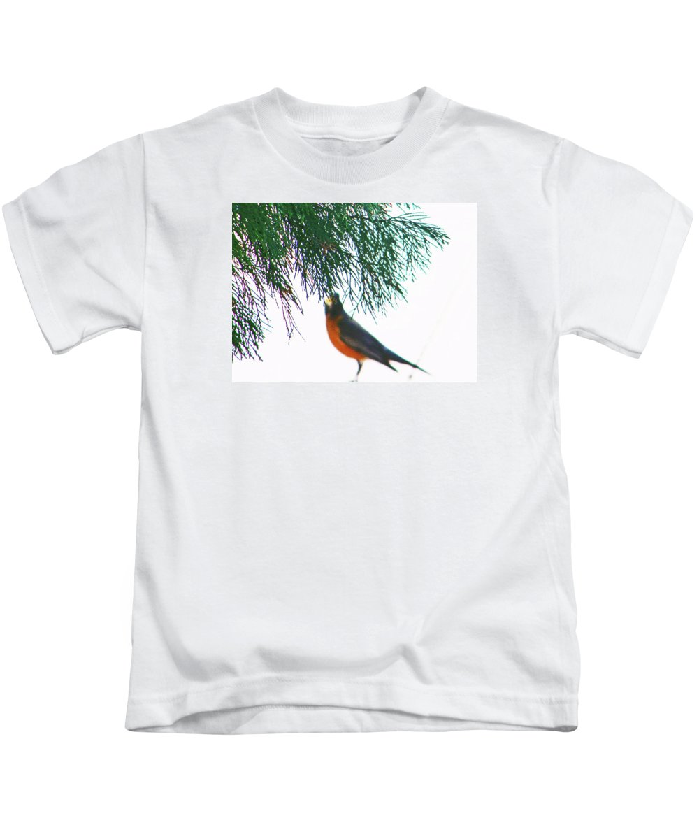 Abstract Kids T-Shirt featuring the photograph Robin 2 by Lenore Senior