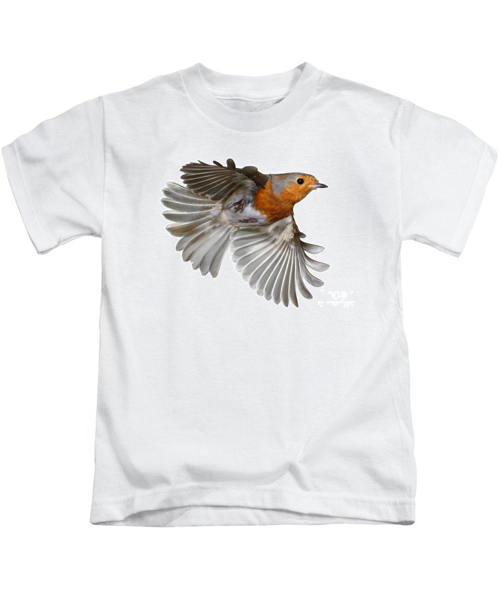 European Robin Kids T-Shirt featuring the photograph Robin In Flight by Warren Photographic