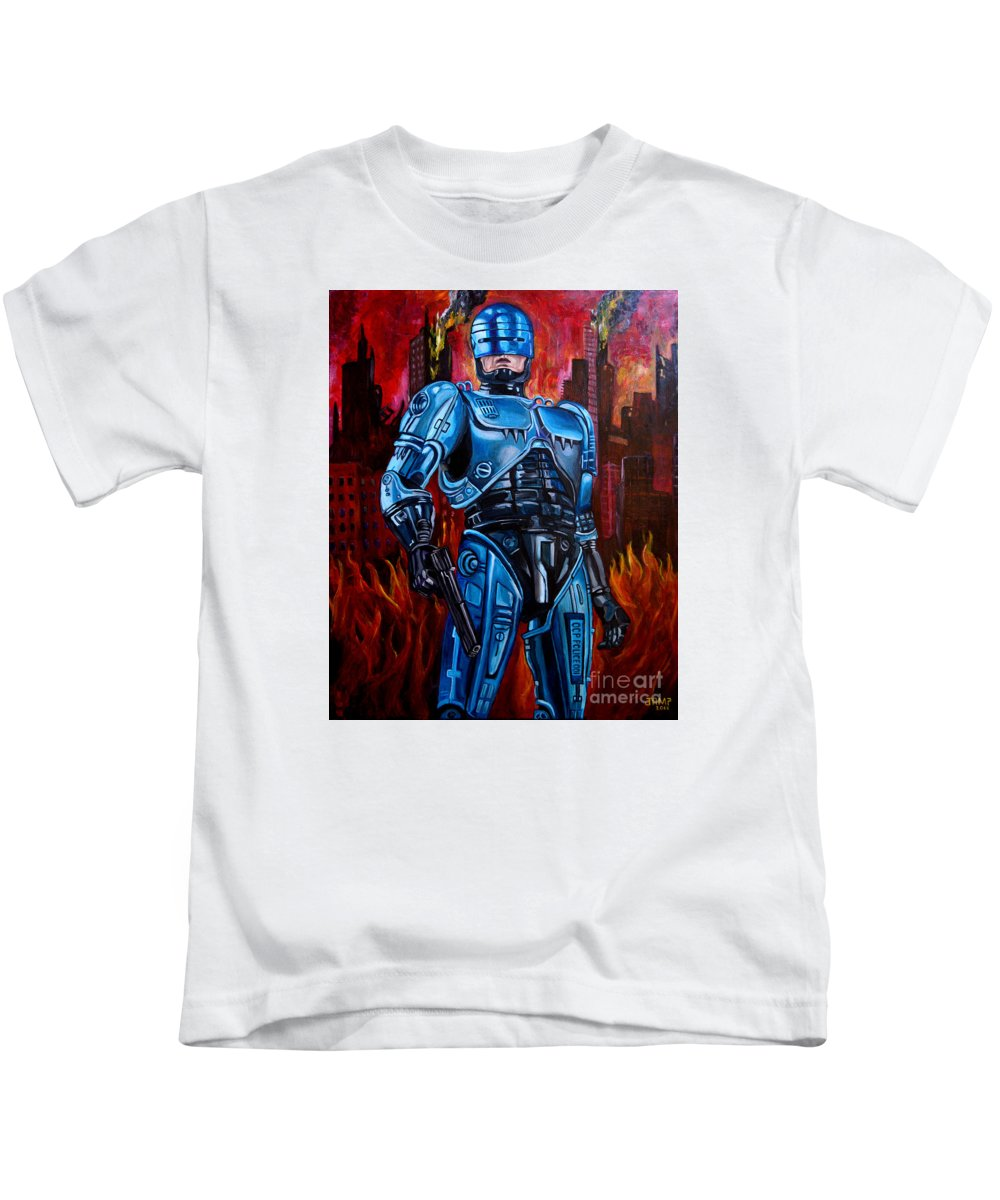 Robocop Kids T-Shirt featuring the painting Robocop by Jose Mendez