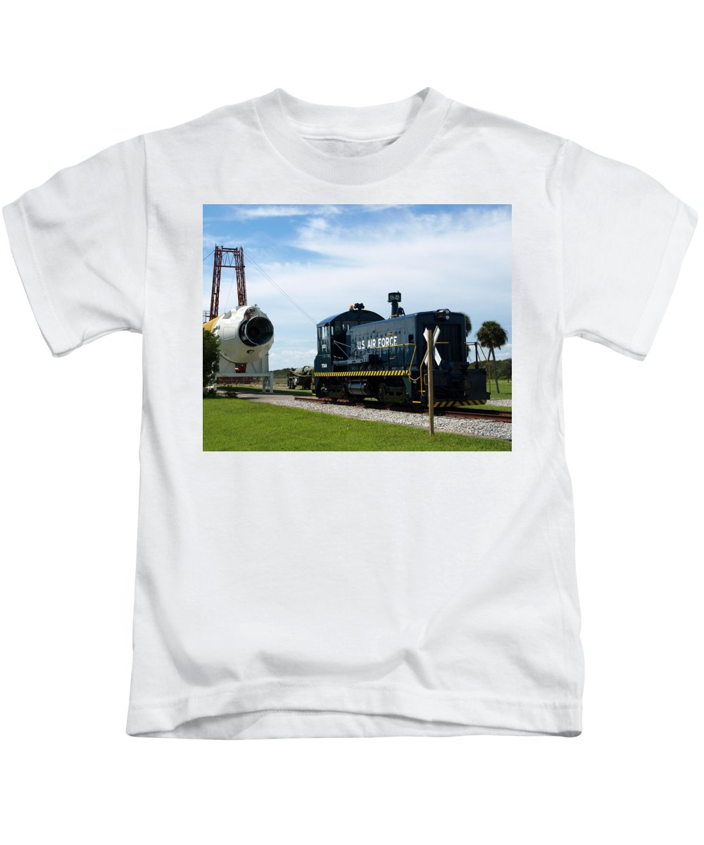 Airforce; Air Force; Air; Force; U.s.; Locomotive; Engine; Rail; Road; Railroad; Railway; Train; Gro Kids T-Shirt featuring the photograph Rocket Locomotive At Cape Canaveral In Florida by Allan Hughes