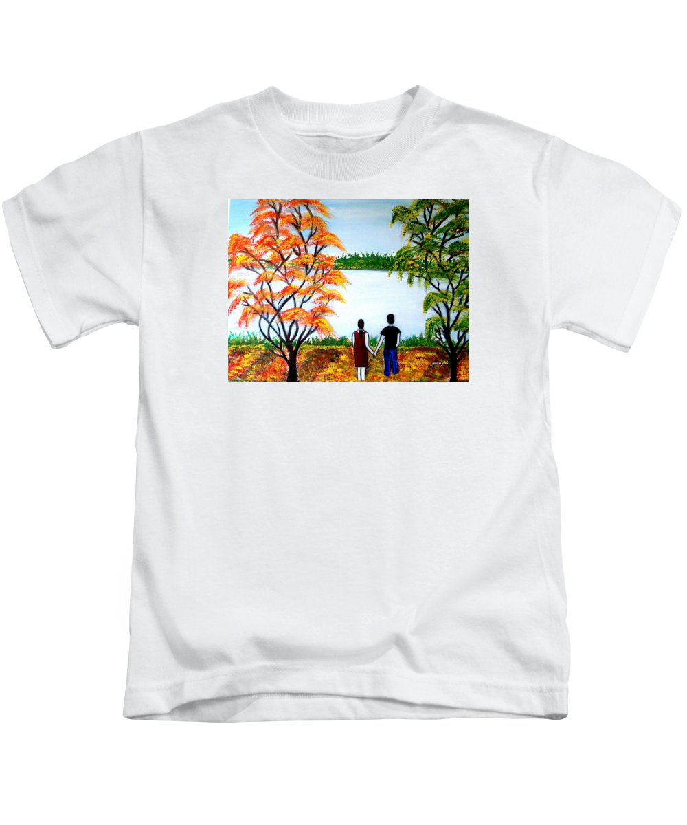 Romance Figures Autumn Orange Trees Green Pop Water Lake Love Valentine Yellow Lake Spring Bloom Kids T-Shirt featuring the painting Romance In Autumn by Manjiri Kanvinde