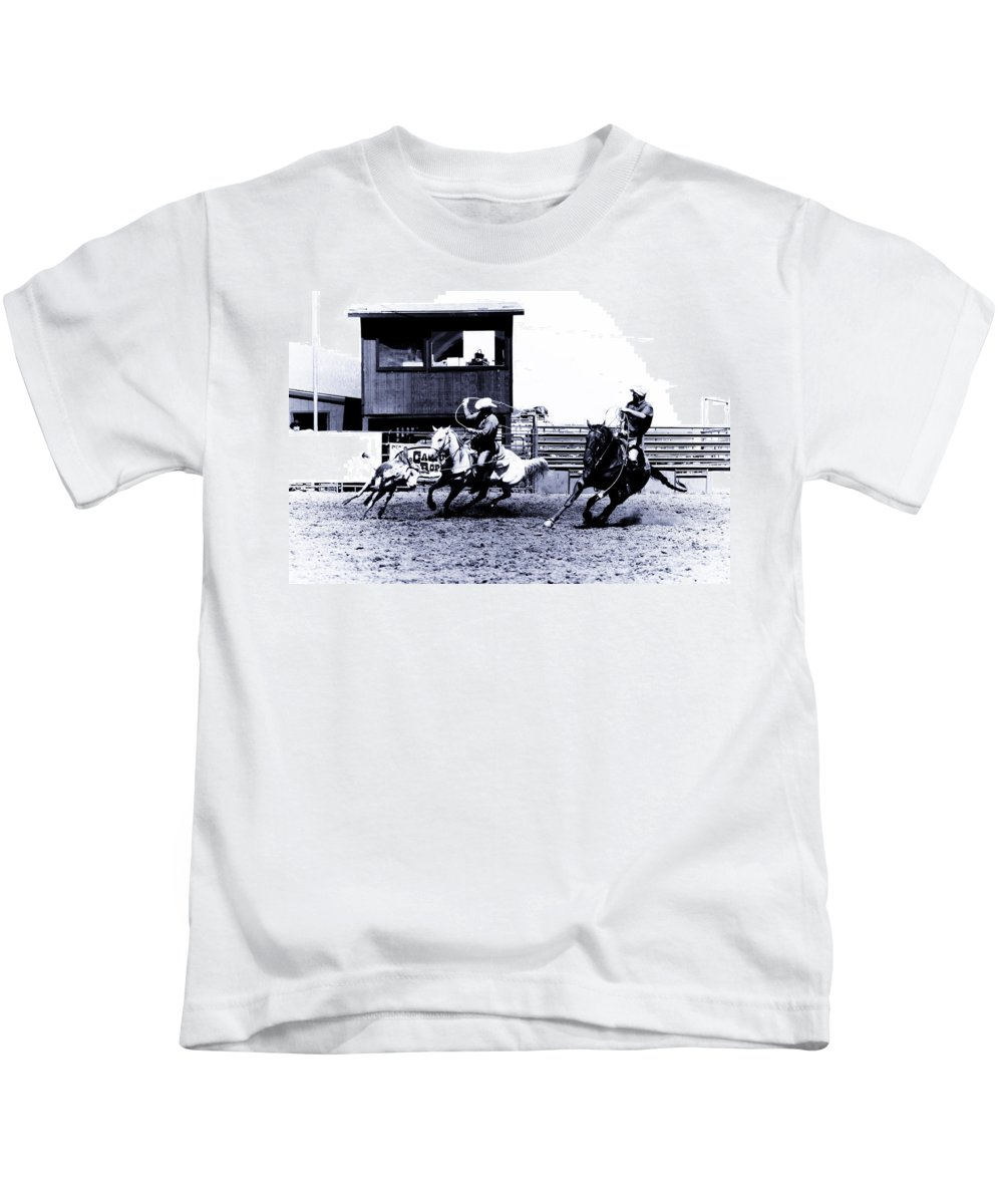 Rodeo Kids T-Shirt featuring the photograph Roping 1 by Scott Sawyer