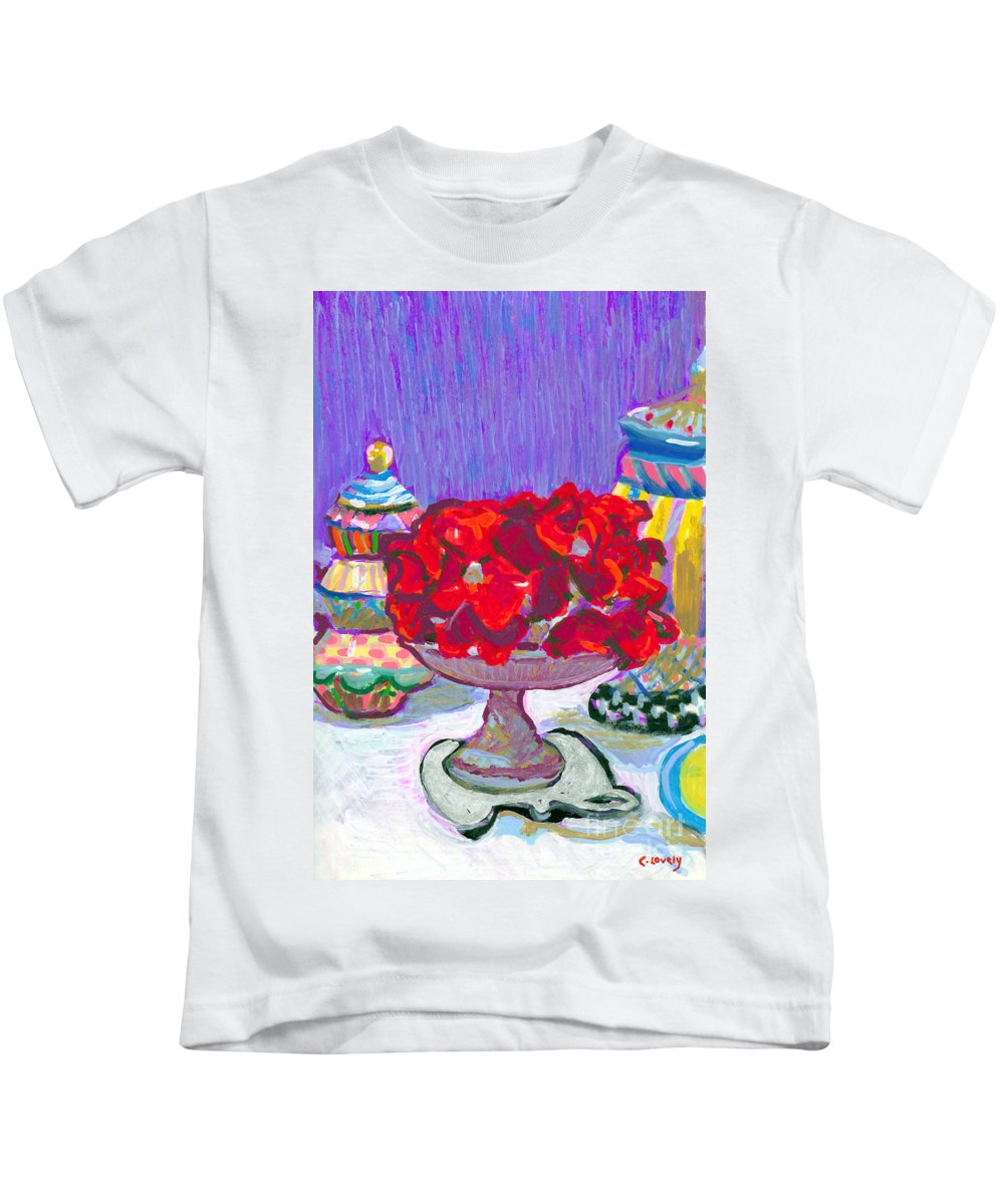 Rose Cake Kids T-Shirt featuring the painting Rose Covered Cake by Candace Lovely