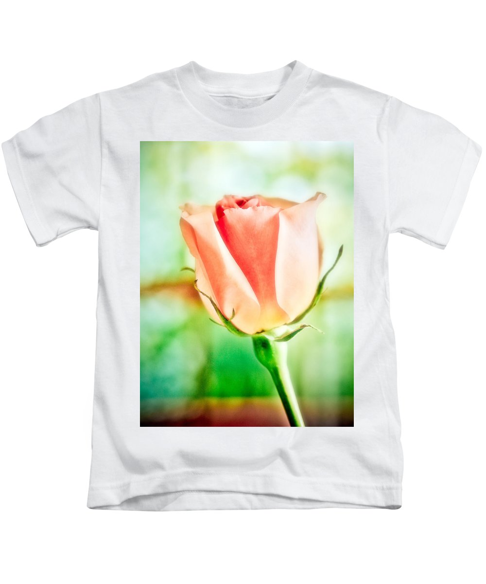Rose Kids T-Shirt featuring the photograph Rose In Window by Marilyn Hunt