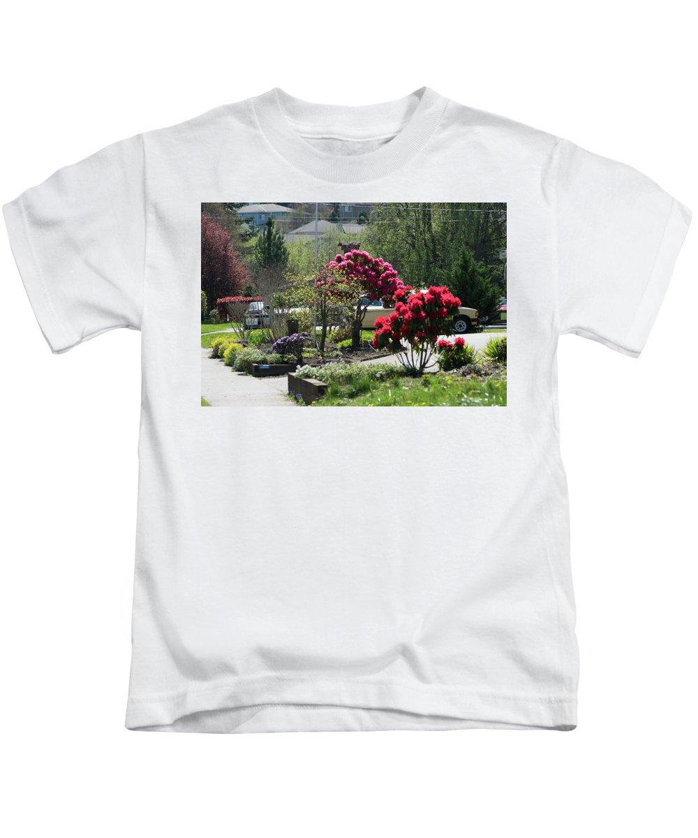Rhodies Kids T-Shirt featuring the photograph Rosie Rhodies by Tom Cochran