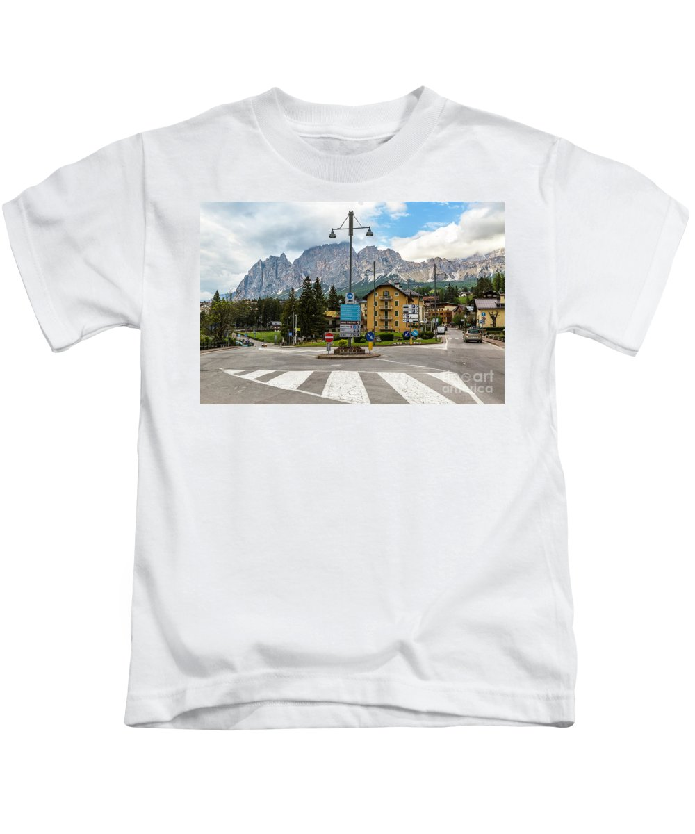 Roundabout Kids T-Shirt featuring the photograph Roundabout Cortina D'ampezzo by Daryl L Hunter