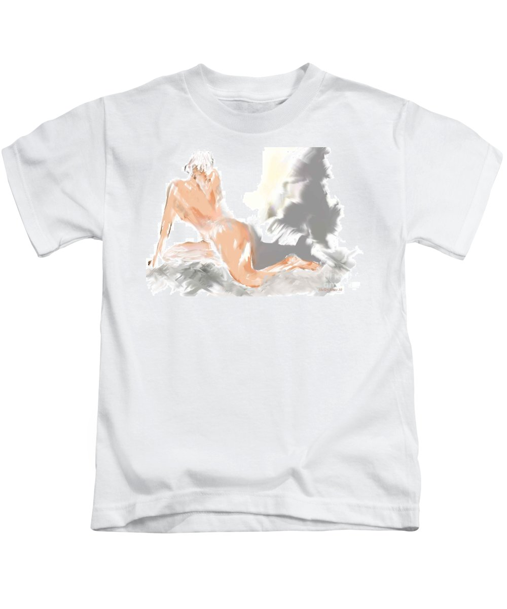 Digital Art Kids T-Shirt featuring the digital art Ruffled Bed by Shelley Jones