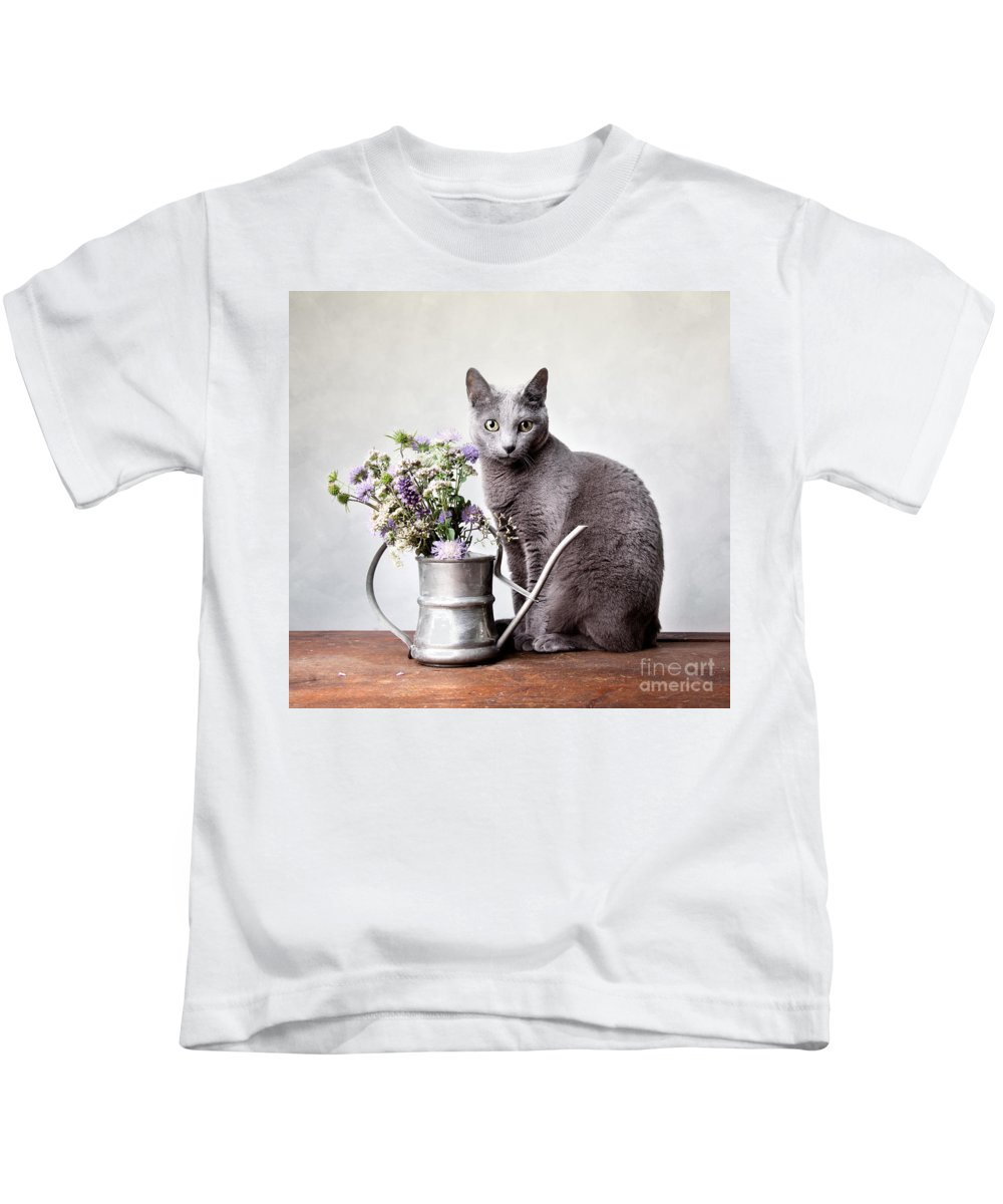 Cat Kids T-Shirt featuring the photograph Russian Blue 02 by Nailia Schwarz