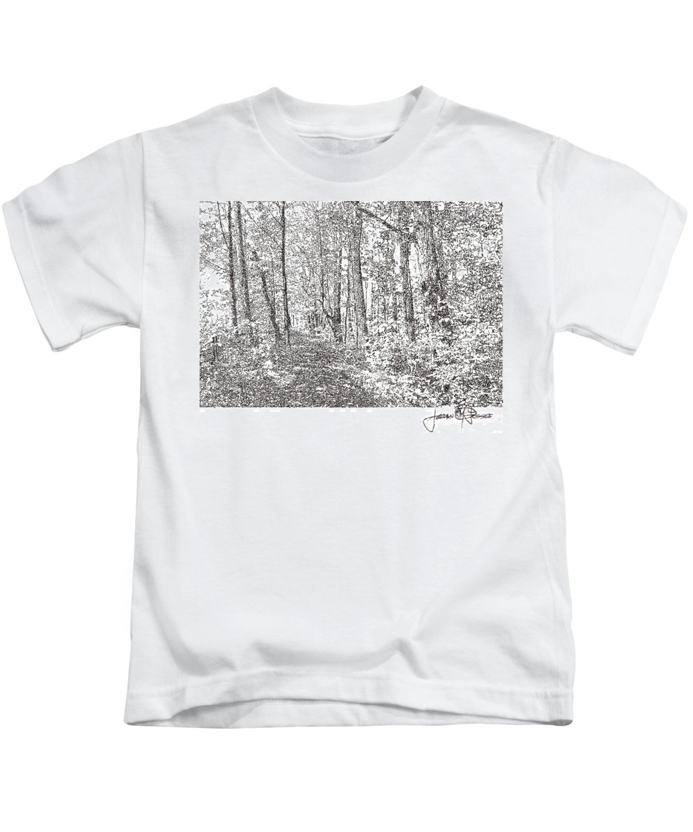 Landscape Kids T-Shirt featuring the drawing Sacred Grove by Jordan Jessee