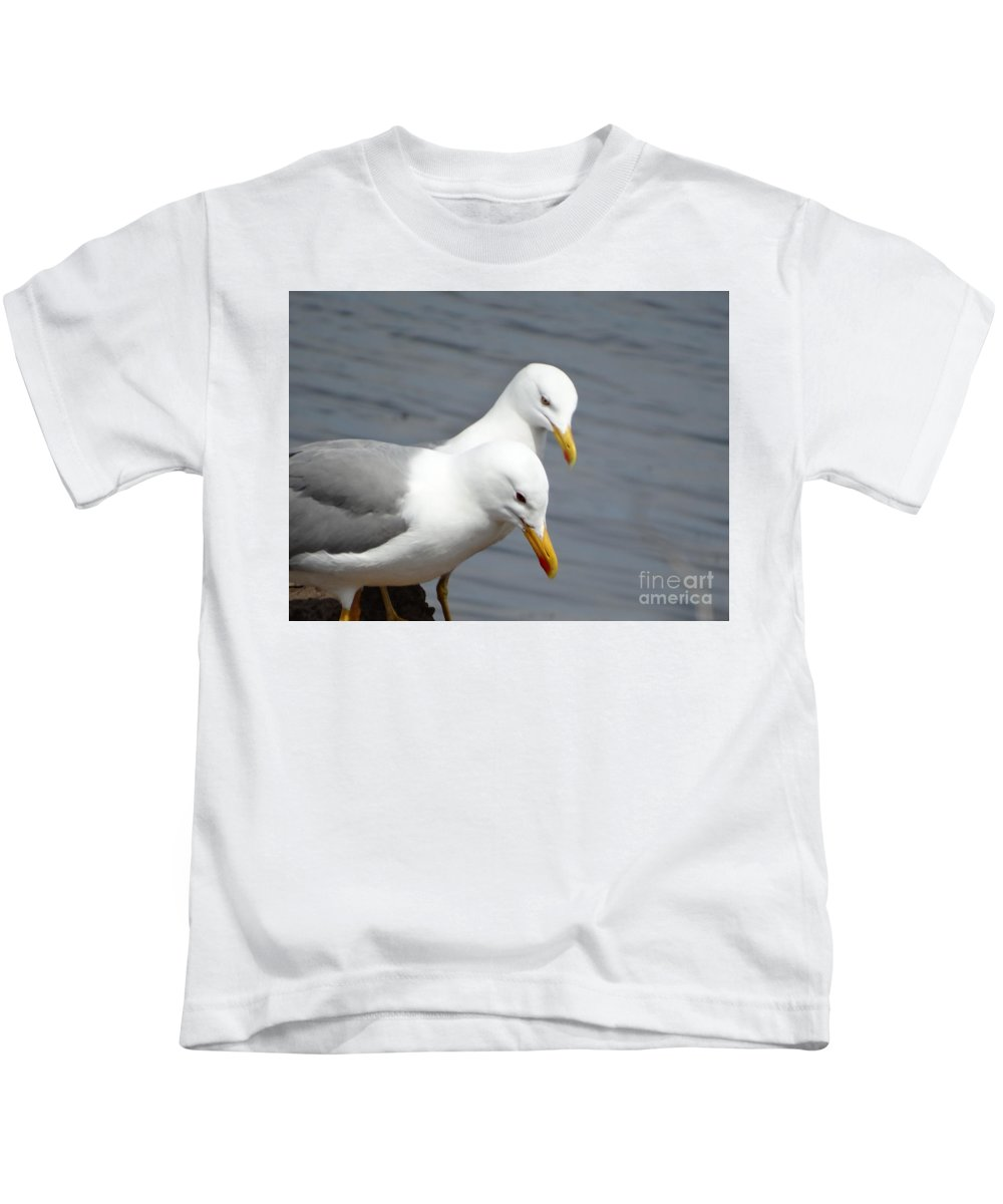 Animal Kids T-Shirt featuring the painting Saddleback Pair Love by Anton Kostadinov